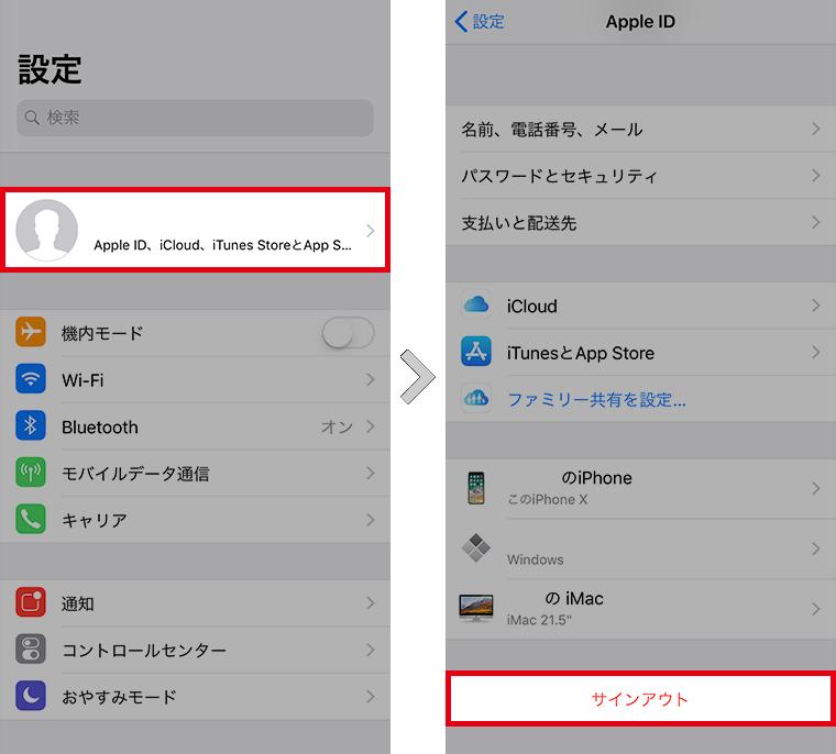 Apple IDサインアウト