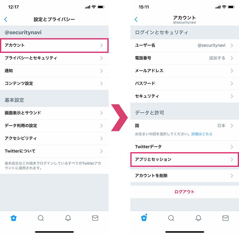アプリとセッション